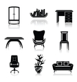 Furniture black icons vector image vector image