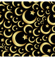 gold islam star and crescent religion seamless vector image vector image
