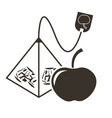 icon tea bag-pyramid with apple flavor logo in vector image vector image