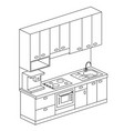 isometric plan kitchen set design vector image