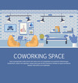 loft style coworking space interior design banner vector image vector image