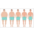 Man diet concept Men slimming stage progress vector image