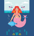 mermaid and fish poster card vector image
