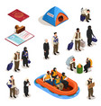 refugee isometric icons set vector image vector image