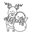 reindeer and snowman with scarf celebration merry vector image