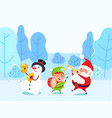 santa and snowman with elf in winter park vector image vector image