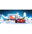 santa claus driving red pickup car with fir tree vector image