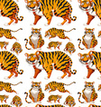 Seamless background with many tigers vector image vector image