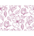 seamless pattern with magnolia flowers vector image vector image