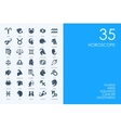 Set of BLUE HAMSTER Library Horoscope icons vector image