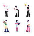 set restaurant staff isolated on white vector image vector image