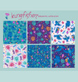 set seamless patterns with tropical leaves vector image