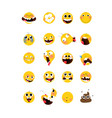 set yellow emotional heads faces flat of vector image vector image