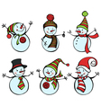 Six snowmen isolated on white background vector image vector image