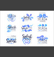 splash wave logo template set hand drawn vector image