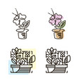 web line icon flower in a pot line art icon vector image vector image
