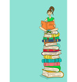 with girl sitting on a stack of books and reading vector image vector image