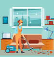 flat woman vacuum cleaner in room - cleaning woman vector image