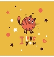 Greeting card with giraffe cat vector image