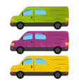 a set of three cars painted in different colors vector image vector image