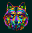 abstract colorful neon portrait a wolfs head vector image vector image