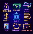 banking neon label set vector image