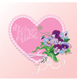 Bouquet of beautiful pansy and forget me not vector image vector image