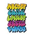 Bright cartoon comic graffiti font alphabet vector image vector image
