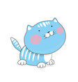 cat cartoon is flat blue kitten vector image