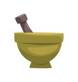 ceramic mortar and wooden pestle item vector image