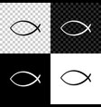 christian fish symbol icon isolated on black vector image vector image