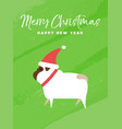 christmas and new year holiday pug dog card vector image