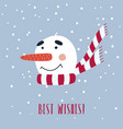 christmas card with cute snowman in scarf vector image