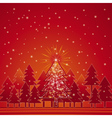 christmas card with forest of pine and snowflakes vector image