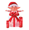 christmas elf design vector image vector image