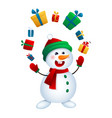 christmas snowman juggles with gifts vector image vector image