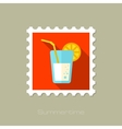 Cocktail flat stamp with long shadow vector image