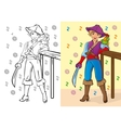 Coloring Book Of Boy In Pirate Costume vector image