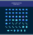 communication flat style design icon set vector image