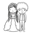 couple marriage cute cartoon black and white vector image vector image