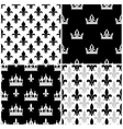 crowns and fleur de lis seamless patterns vector image