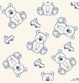 cute seamless pattern for kids with bear and auto vector image