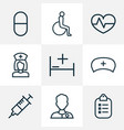 drug icons line style set with bed nurse cap vector image