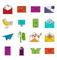 email icons doodle set vector image vector image