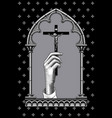 female hand with a cross vector image vector image