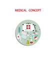 first aid kit - stethoscope drugs syringe - round vector image
