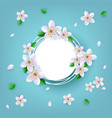 floral badge with white apple or cherry blossoms vector image