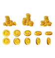 golden bitcoins coins stack and animation set vector image
