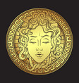 golden medusa gorgon golden head on a shield vector image vector image