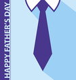 Happy fathers day card on tie and blue shirt